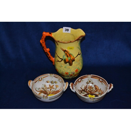 39 - PAIR OF QUIMPER TWO HANDLED BOWLS AND ARTHUR WOOD KINGFISHER JUG