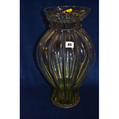 45 - LARGE FLUTED GLASS VASE WITH METAL WORK SUPPORT (43CM)...
