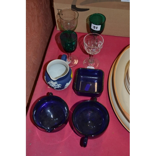 51 - BRISTOL BLUE GLASS SUGAR BOWL, CREAM JUG AND SALT, WINE GLASSES AND JASPERWARE JUG...
