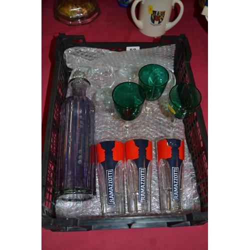 52 - 3, 19TH CENTURY EMERALD GLASS WINES, 3 RETRO RAMAZZOTTI GLASSES, ETCHED PURPLE GLASS BOTTLE, 4 DOOLE...