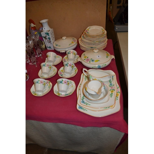 1 - CREAM AND FLOWERED PART DINNER SERVICE; 46 PIECES...