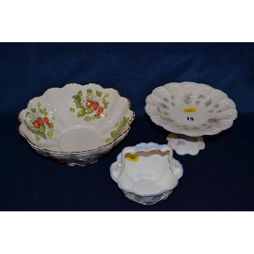 15 - QUEENS FINE BONE CHINA COMPORT AND SUGAR BASKET AND QUEENS VIRGINIA STRAWBERRY BOWL...