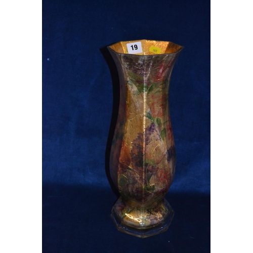 19 - TALL FLUTED GLASS AND GOLD FOIL VASE (CHIP TO BASE 40CM)...