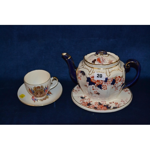 20 - 1953 CORONATION TEACUP AND SAUCER AND MAYERS LORA CHINA TEAPOT, LID AND STAND...