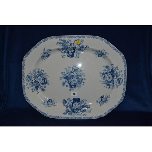 26 - 19TH CENTURY BLUE AND WHITE TRANSFER PRINTED MASON'S IRONSTONE MEAT PLATE DECORATED BASKETS OF FLOWE...