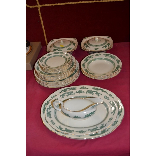 27 - ROYAL CAULDON GREEN DRAGON CHINA PART DINNER SERVICE (29 PIECES)...