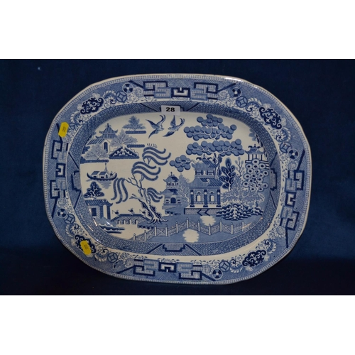 28 - 19TH CENTURY STAFFORDSHIRE OVAL BLUE AND WHITE TRANSFER PRINTED WILLOW PATTERN MEAT PLATE (45CM)...