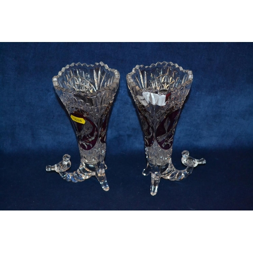 3 - PAIR OF BOHEMIAN GLASS CORNUCOPIA VASES WITH RUBY FLASH PANELS DEPICTING BIRDS...