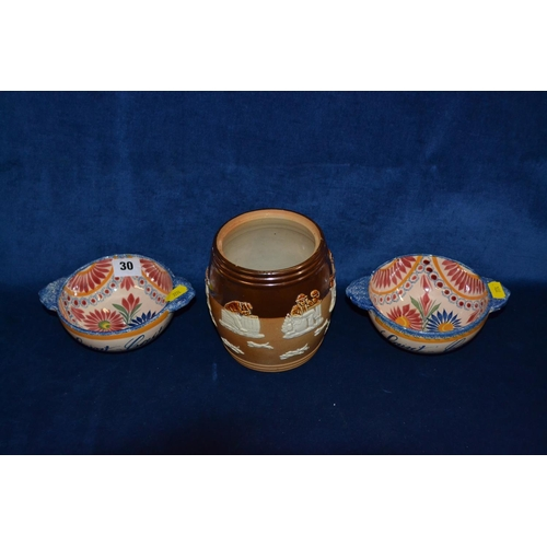 30 - PAIR OF HENRIOT QUIMPER TWO HANDLED BOWLS WITH RICHLY FLOWERED DECORATION AND 19TH CENTURY DOULTON /...