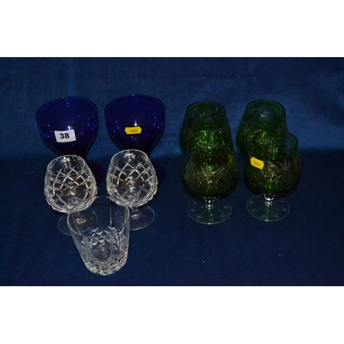 38 - PAIR OF COBALT BLUE GOBLETS, FOUR GREEN TINTED CUT GLASS BRANDY GOBLETS, PAIR OF BRANDY GOBLETS AND ...