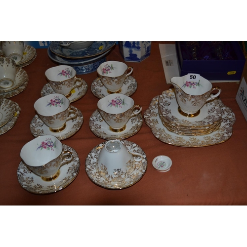 50 - WINDSOR BONE CHINA TEA SERVICE DECORATED FLOWERS WITH GILT BORDERS 21 PIECES (ONE CUP A/F)...