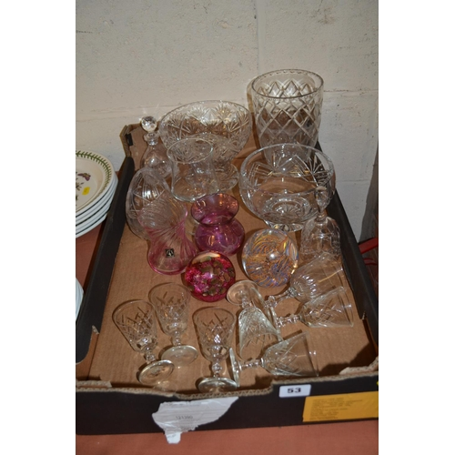 53 - 2 GLASS PAPERWEIGHTS, 2 CUT GLASS BOWLS, 7 SHERRY GLASSES, ETC...