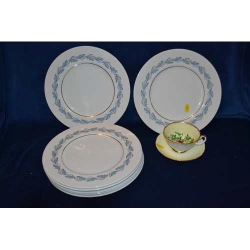 7 - SEVEN SIMPSONS POTTERY CHINA STYLE KENSINGTON DINNER PLATES AND ROYAL GRAFTON BONE CHINA TEACUP AND ...