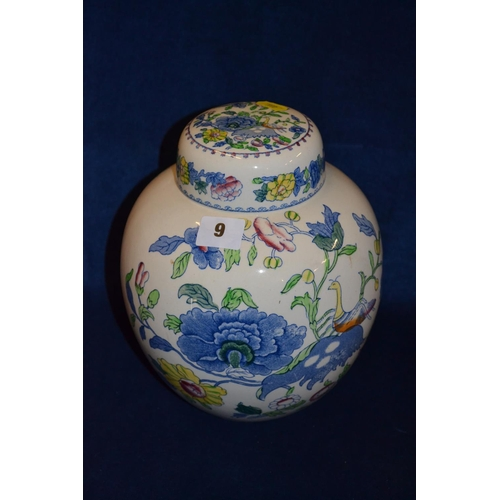 9 - MASON'S IRONSTONE REGENCY GINGER JAR AND LID (23CM) (CHIP TO RIM)...