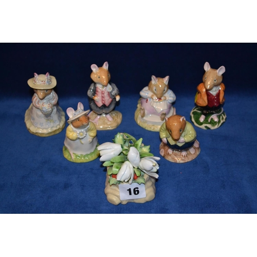 16 - ROYAL DOULTON BRAMBLY HEDGE FIGURINES DUSTY DOGWOOD DBH6, MR TOADFLAX DBH10, LORD WOODMOUSE DBH4, OL...