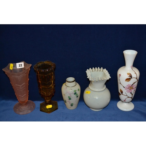22 - 5 VARIOUS COLOURED GLASS VASES