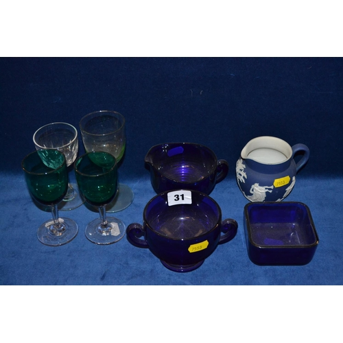31 - COBALT BLUE GLASS CREAM JUG, SUCRIER AND SALT, 4 VARIOUS GLASSES AND TUNSTALL JASPERWARE JUG