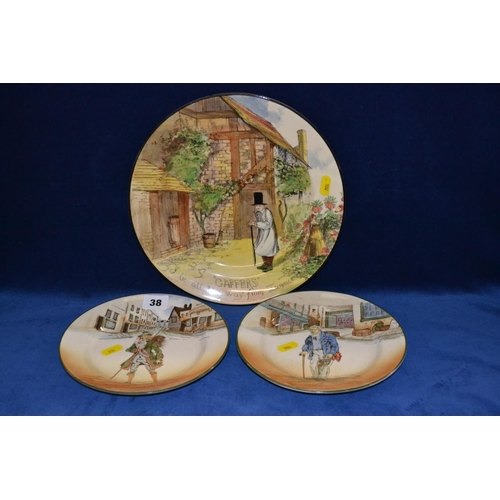 38 - TWO ROYAL DOULTON DICKENS WARE PLATES BARNABY RUDGE AND OLD PEGGOTY (19CM) AND ROYAL DOULTON GAFFERS...