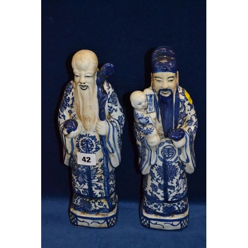 42 - PAIR OF CHINESE PORCELAIN FIGURES OF NOBLEMEN (31CM)
