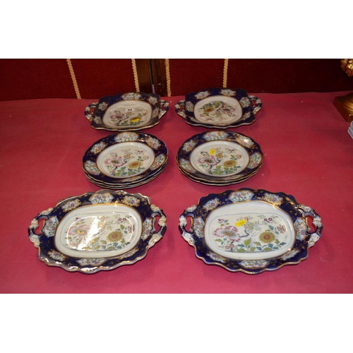 44 - 19TH CENTURY IMPERIAL STONE PART DESSERT SERVICE CHINOISERIE DESIGN 4 DISHES AND 5 PLATES (RIDGWAY?)