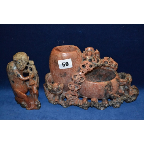 50 - TWO 19TH CENTURY SOAPSTONE CARVINGS