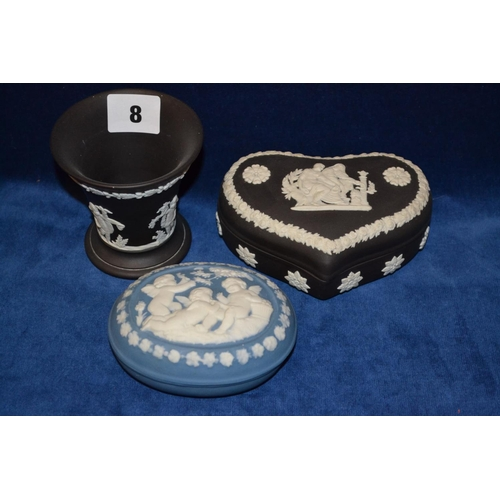 8 - WEDGWOOD BLACK JASPERWARE VASE AND HEART SHAPED BOX AND OVAL JASPERWARE STYLE LIDDED BOX