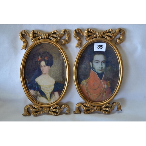 35 - PAIR OF OVAL PORTRAIT ENGRAVINGS OF LORD AND LADY IN RIBBON DECORATED GILT FRAMES