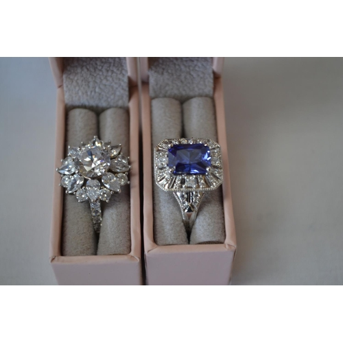 47 - TWO STERLING SILVER DIAMONIQUE DRESS RINGS