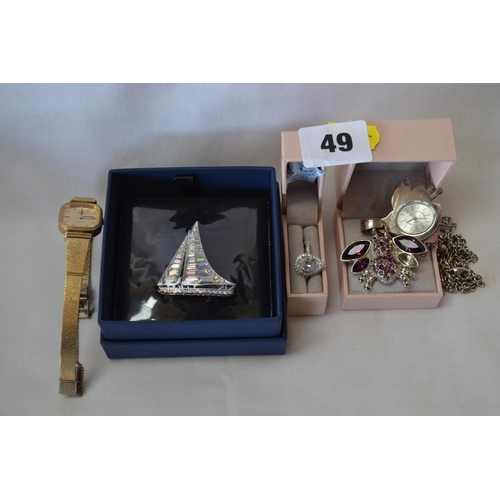 49 - STERLING SILVER DIAMONIQUE HEART SHAPED RING, FOB WATCH PENDANT AND CHAIN, ROTARY WRISTWATCH AND BUT...