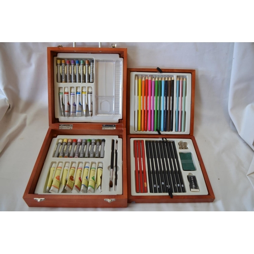 54 - ARTISTS PAINTING AND DRAWING CASE FITTED 4 TRAYS, PAINTS AND PENCILS (NEW)
