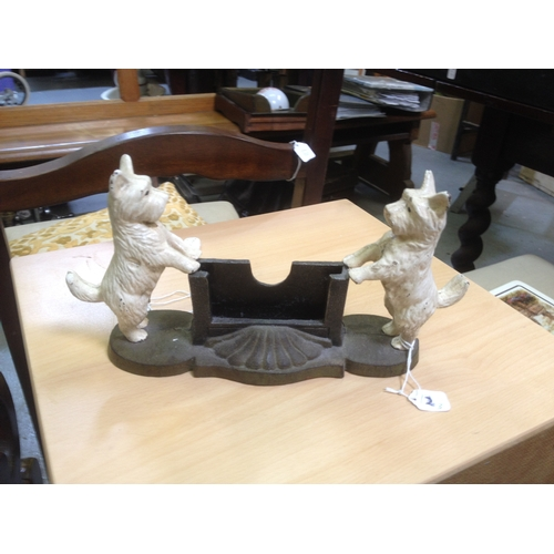 12 - Cast iron dogs letter holder...