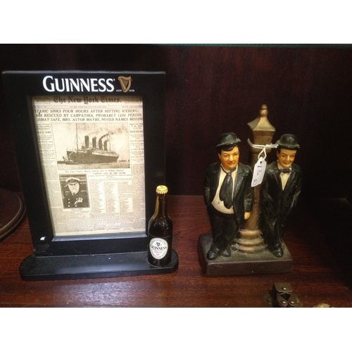 13 - Guinness Add. Picture frame, NY Times 1912 'Titanic' also old Laurel + Hardy Figure...