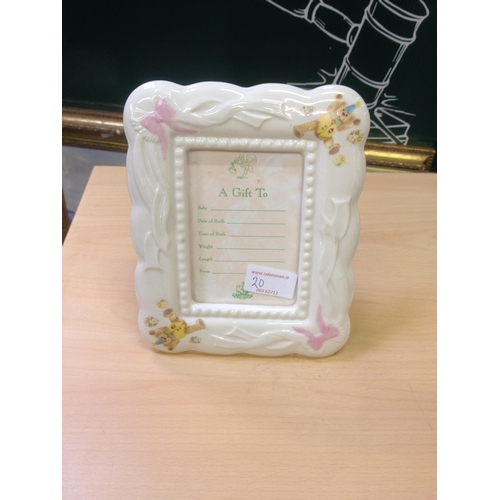 20 - Belleek baby picture frame...