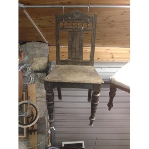 4 - Oak wooden back hall chair...