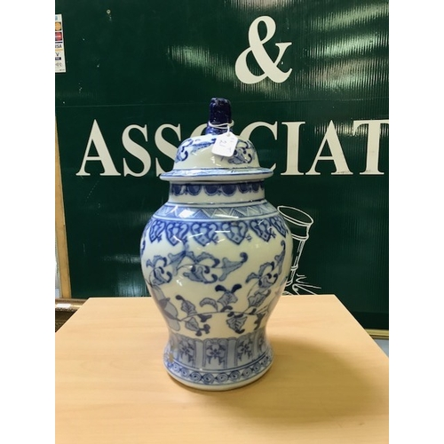 21 - Oriental jar with cover blue and white...