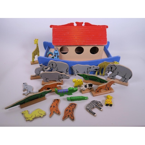 A Vintage Wooden Noahs Ark By Kiddicraft With Various Animals