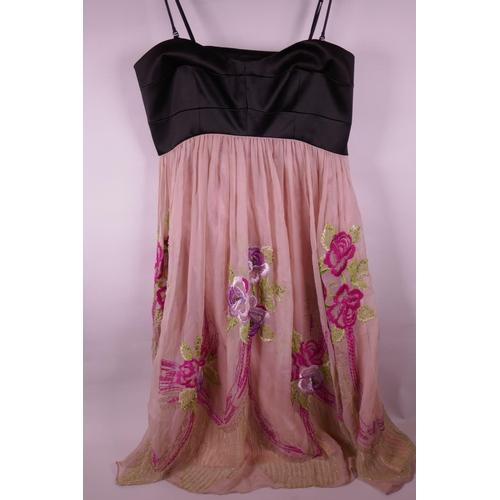 e17161efcc 57 - A vintage Karen Millen minidress with floral embroidered organza skirt  (UK size 12