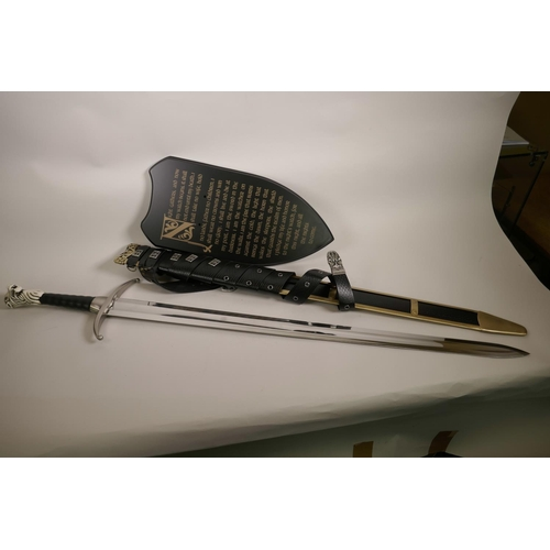 26 - A Chinese made prop replica Game of Thrones sword of Jon Snow (Longclaw), with scabbard and legend p...