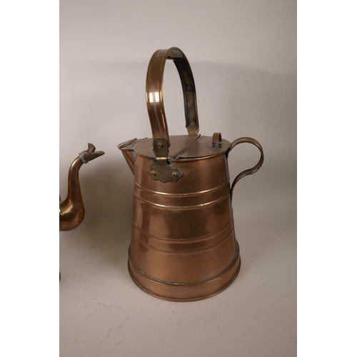 28 - A copper milk pail with hinged lid and spout cover, 16