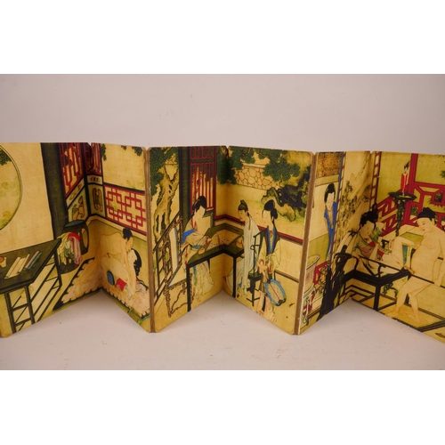 1 - A Chinese printed concertina book depicting erotic scenes 4½