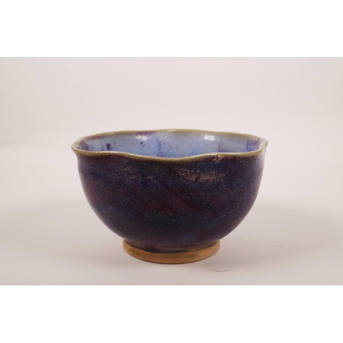 10 - A Chinese Jun ware pottery bowl with a frilled rim, 6½