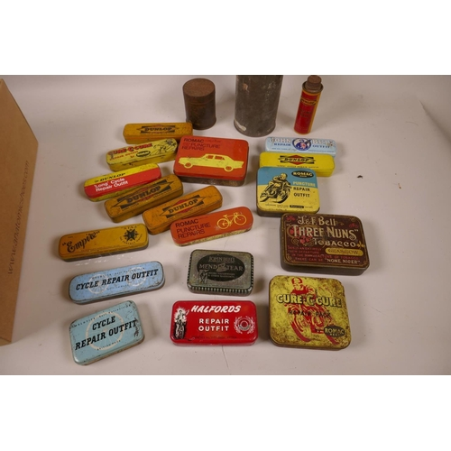 12 - A box of vintage tins, mainly puncture repair outfits by John Bull, Romac, Dunlop, Empire etc...