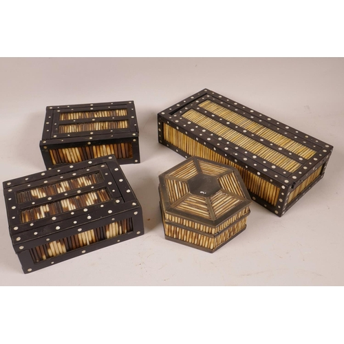 27 - A pair of porcupine quill trinket boxes with sliding covers, 5