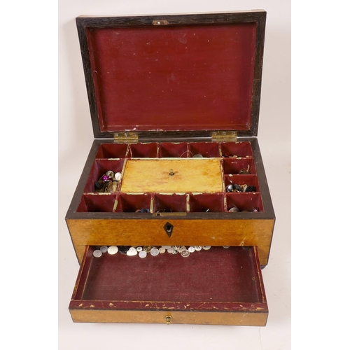 31 - A Victorian yew wood veneered sewing box with ebony banding, the fitted interior and base drawer con...
