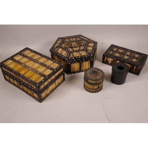 32 - A hexagonal porcupine quill spice box, 7½