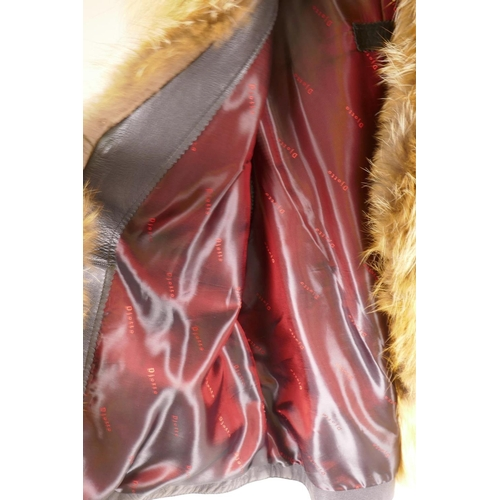 4 - A Djotto red fox fur and leather gilet...