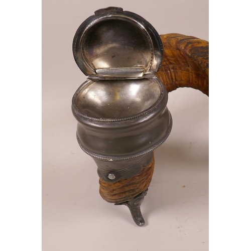 7 - An early C19th ram's horn and pewter table snuff mull, 6½