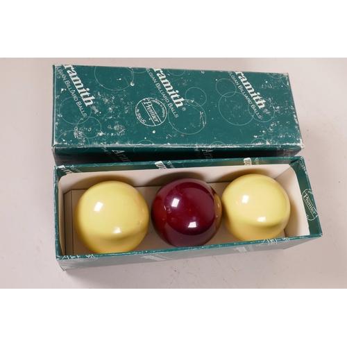 31 - A set of three Aramith full size billiard balls...