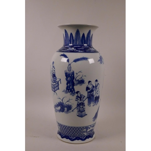 18 - A Chinese blue and white porcelain vase decorated with figures in a garden, 6 character mark to base...