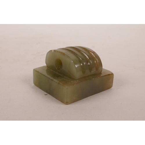 2 - A Chinese green jade square form seal, 1½